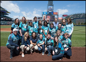 Little Shop of Physics team at Coors Field for Weather and Science Day