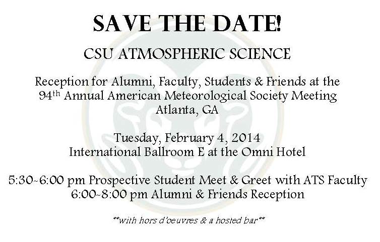 Save-the-date announcement for CSU Atmospheric Science reception at AMS annual meeting