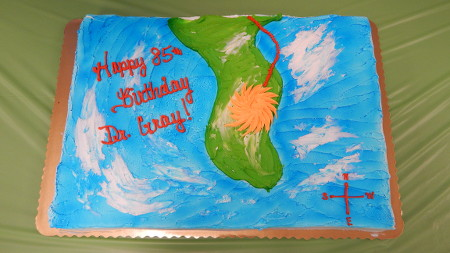 birthday cake - shows a hurricane and track over Florida