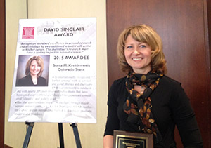 Sonia at David Sinclair Award Ceremony