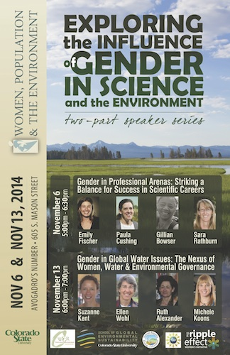 Exploring the Influence of Gender in Science and the Environment event poster