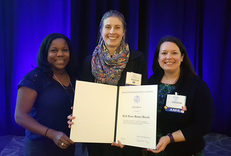 Melissa Burt, Emily Fischer and Manda Adams with AMS award for Earth Science Women's Network
