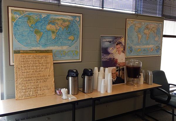 Photos and refreshments at Gray memorial