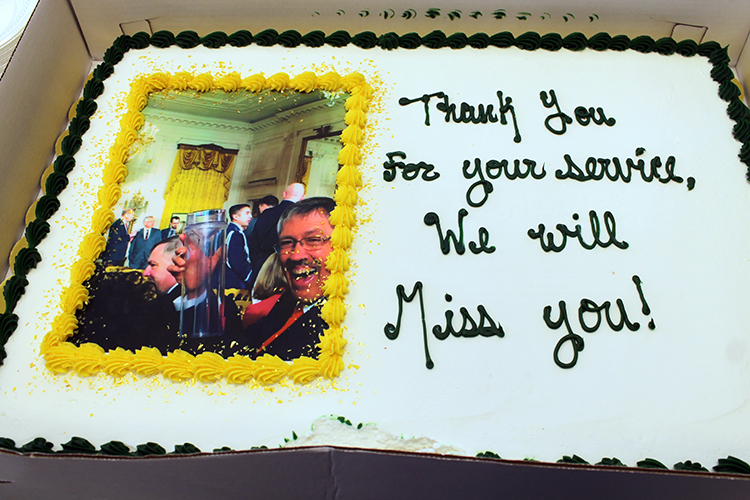 Cake for Nolan's retirement celebration