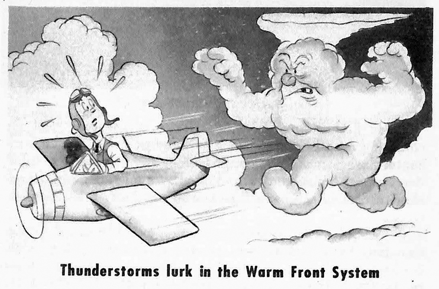 Cartoon showing alarmed pilot flying away from pursuing thunderstorm