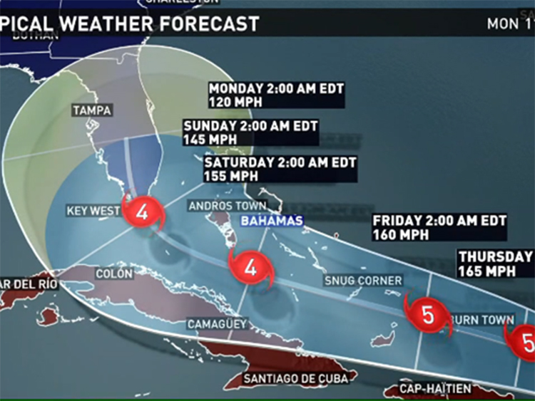 Map showing Hurricane Irma's expected landfall on Florida