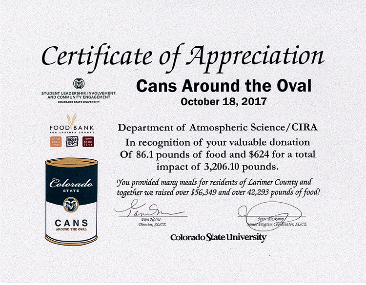Cans Around the Oval participation certificate