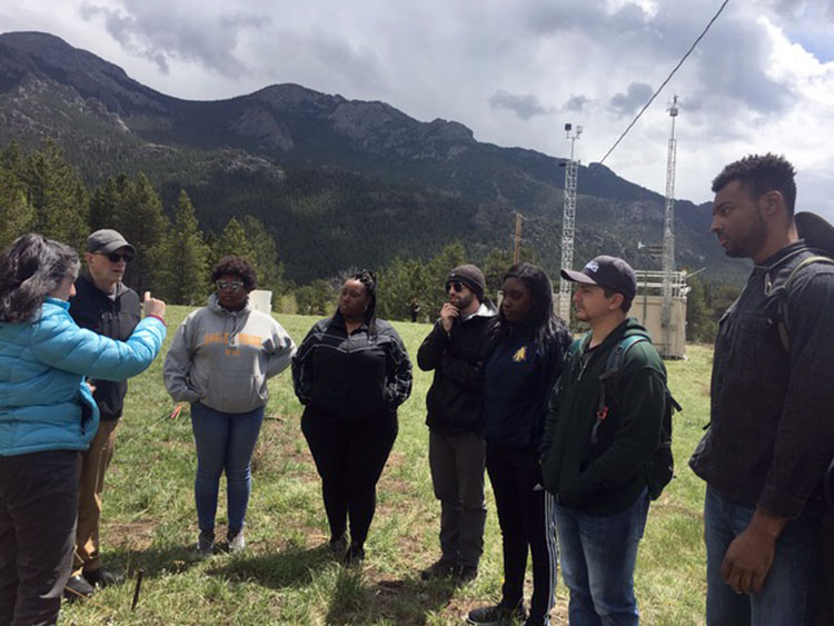 North Carolina A&T State University students at the NADP field site