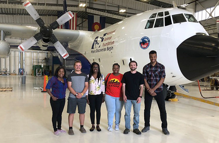 North Carolina A&T State University students with NCAR C-130