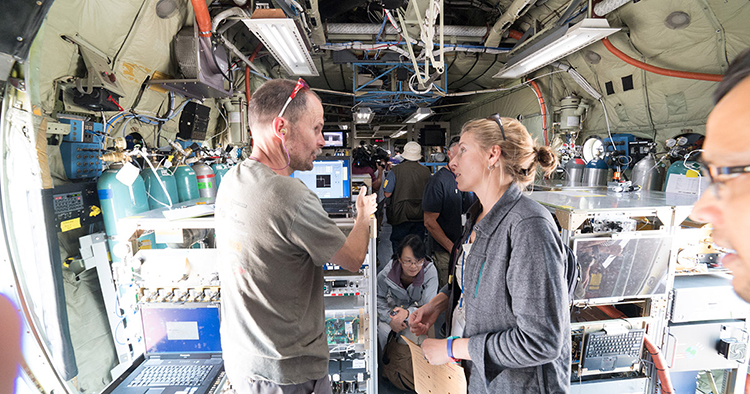Emily Fischer aboard the NSF/NCAR C-130