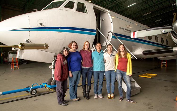 Amy Sullivan with ARM Aerial Facility staff and instrument mentors during ACE-ENA