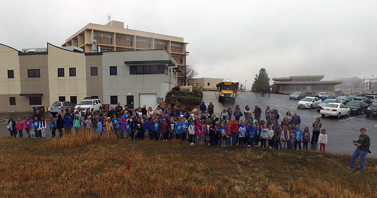 Altitude Elementary group photo by drone