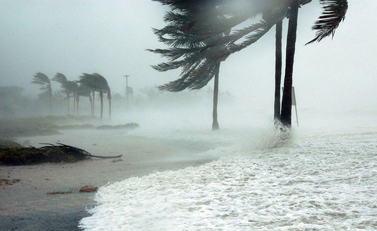 Hurricane hits beach