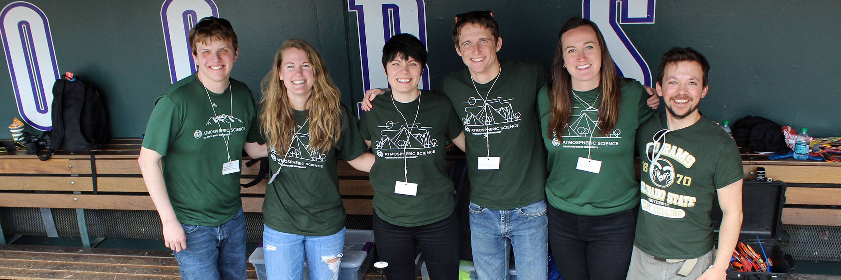 Department of Atmospheric Science graduate students Sean Freeman, Kristen Tucker, Jennie Bukowski, Rick Schulte, Faith Groff and Kyle Chudler represented CSU at Weather and Science Day at Coors Field.
