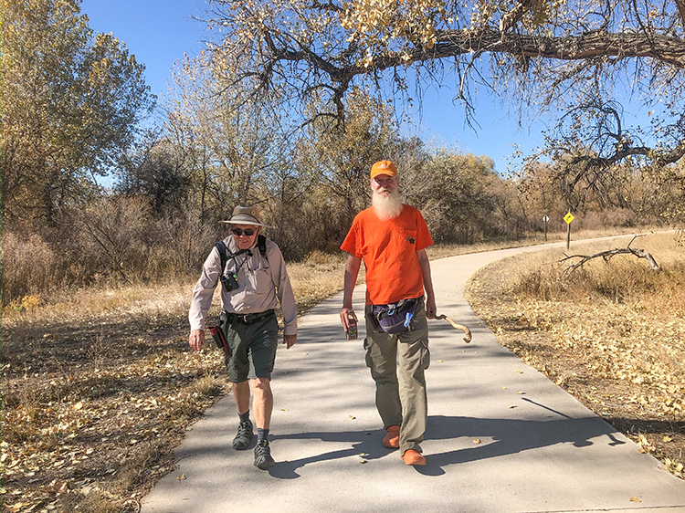 Pete Wetzel and Prof. William Cotton walk Poudre Trail