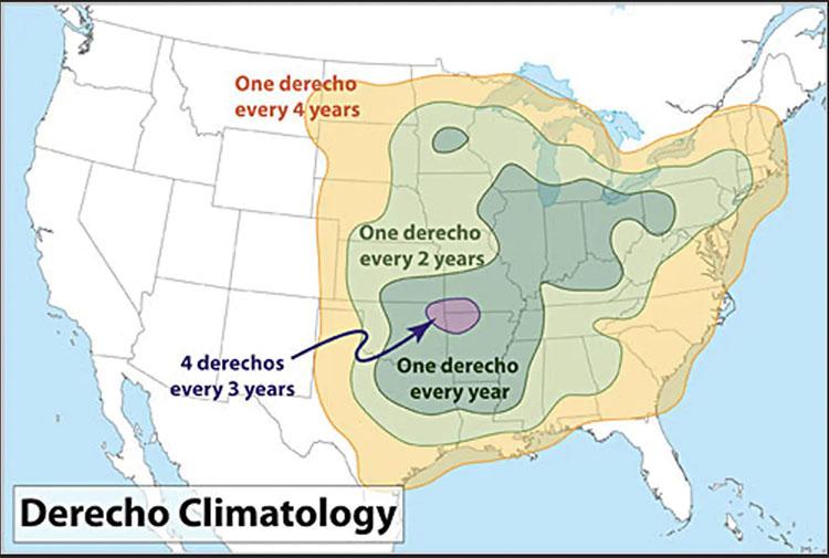 NOAA derecho map