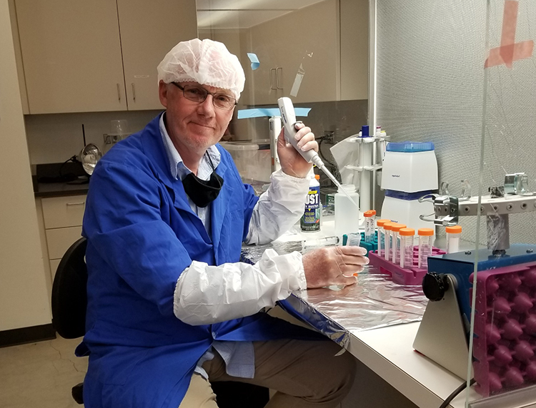 Tom Hill in his lab