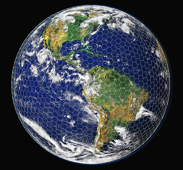 Grid superimposed over image of Earth