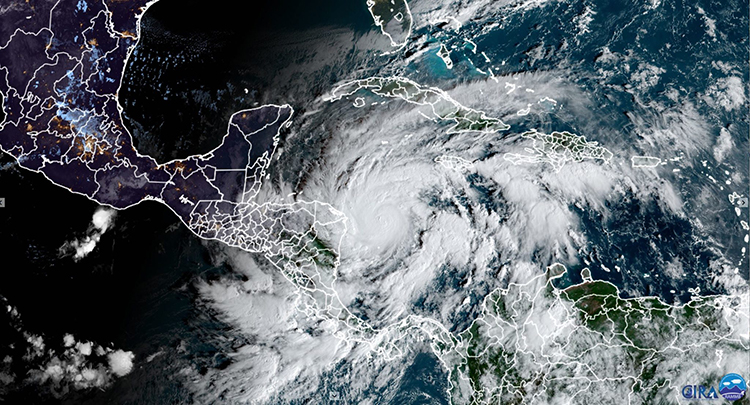 Hurricane Eta satellite image