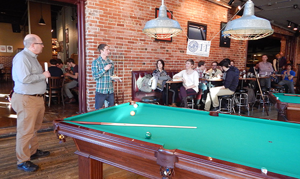 People gathered in Coopersmith's game room
