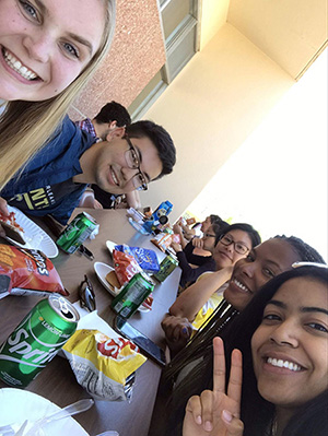 students at barbecue
