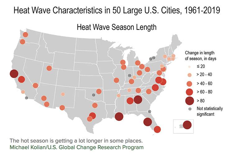 heat wave season length map