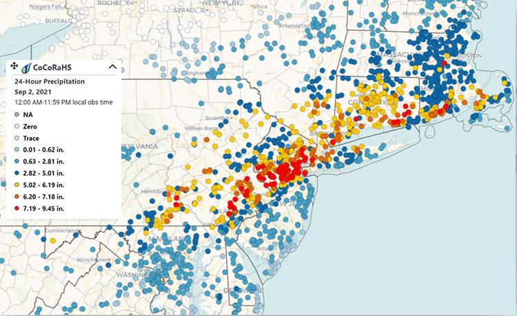 CoCoRaHS rainfall map