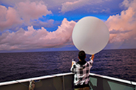 Kyle Chudler launches weather balloon