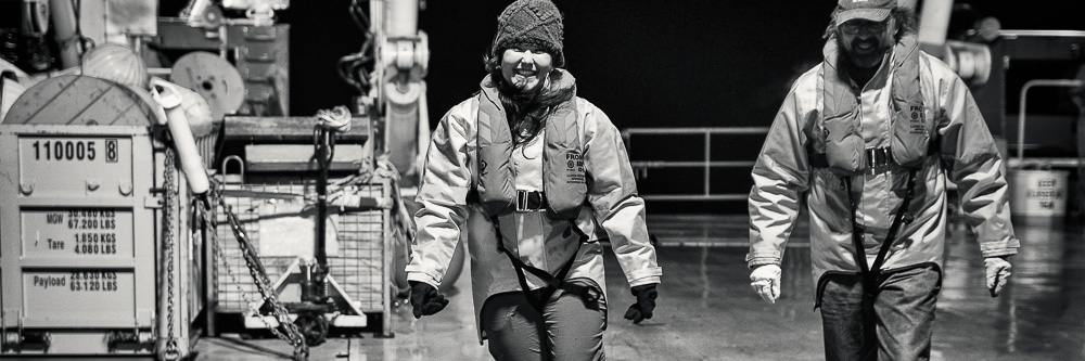 Christina McCluskey aboard the RV Investigator in the Southern Ocean